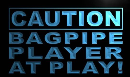 Caution Bagpipe Player at Play Neon Light Sign